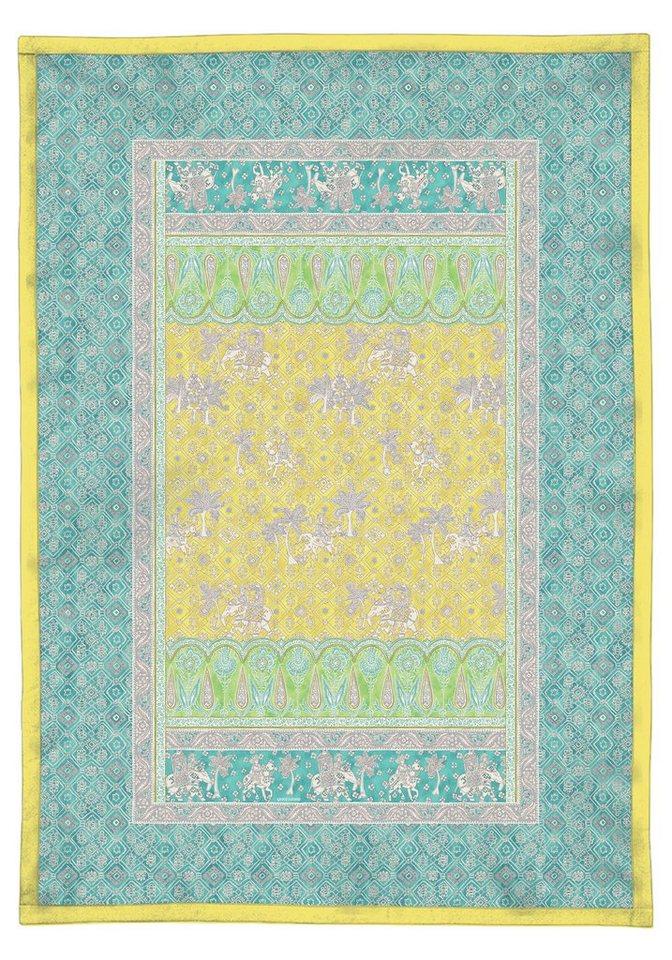 Plaid, Bassetti, »Jasmine«, mit orientalischen Motiven in gelb