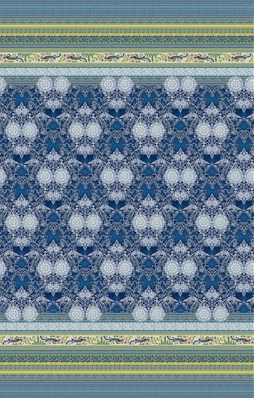 Tagesdecke, Bassetti, »Loto«, mit floralen Elementen in blau