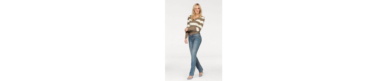 Arizona Gerade Jeans Kontrastnähte, Mid Waist