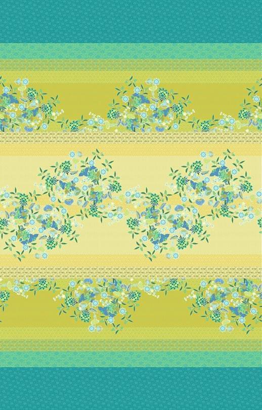 Tagesdecke, Bassetti, »Amarilla«, mit gemusterter Bordüre in grün