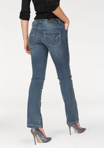 Arizona Gerade Jeans »Kontrastnähte« Low Waist