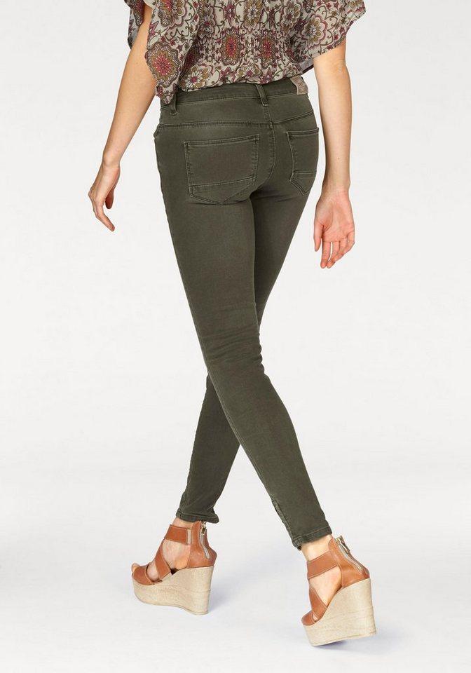 Only Skinny-fit-Jeans »Ikendell« mit Reißverschluss am Saum in olivgrün