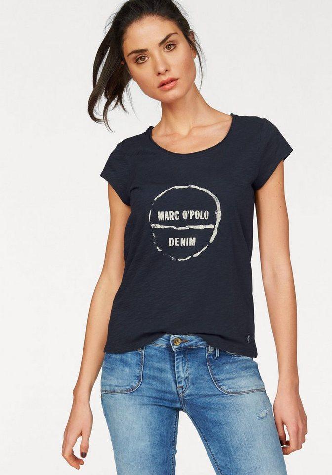 Marc O'Polo DENIM T-Shirt mit Logo-Frontprint in dark-indigo