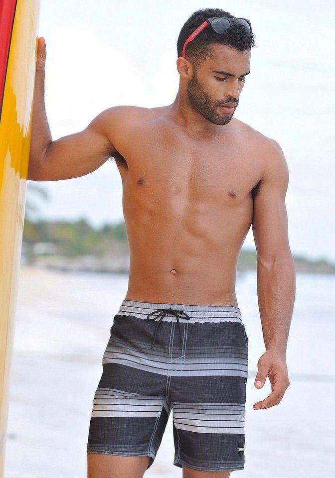O' Neill Badeshorts mit seitlichen Eingrifftaschen mit Klettverschluss in schwarz gestreift