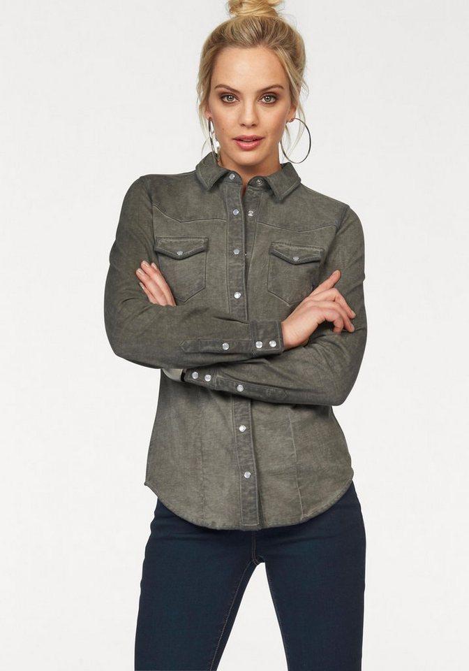Arizona Jeansbluse Sweatshirt-Hemd in Jeans-Optik in khaki