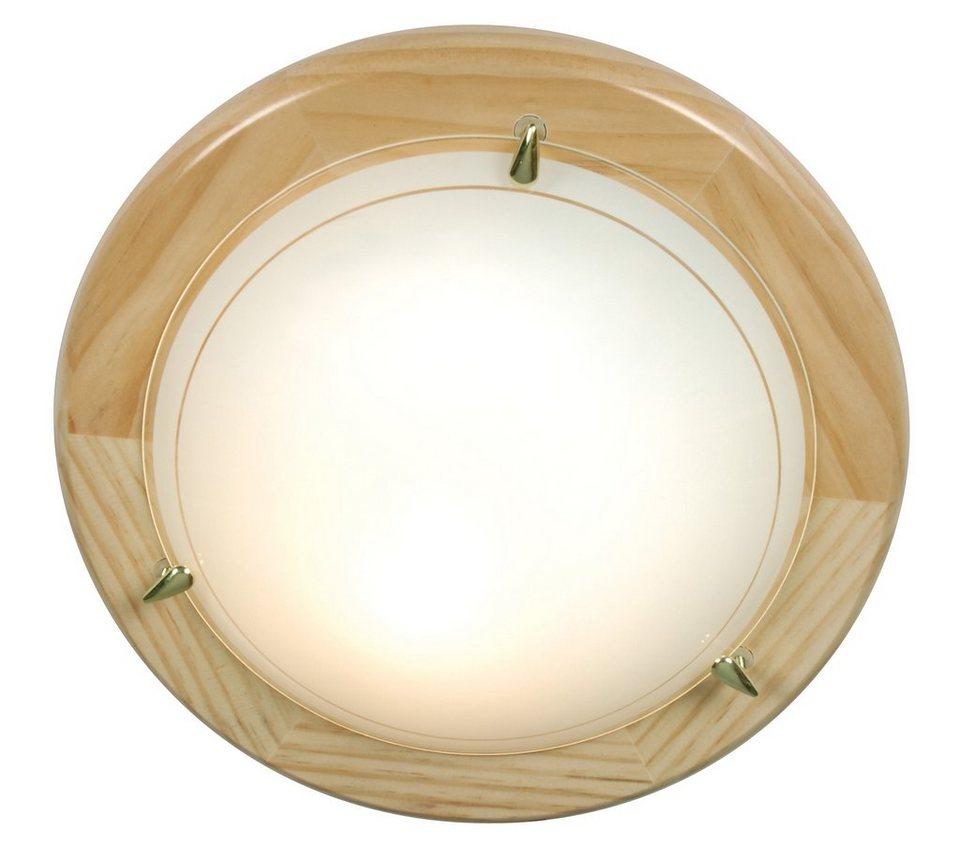 Näve Deckenleuche, 1flg., »UFO-Holz« in Holz, Pinie natur