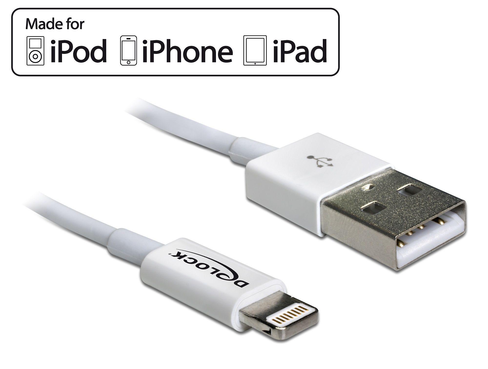 DELOCK Daten- und Ladekabel »USB iPhone weiss 1m (83560)«