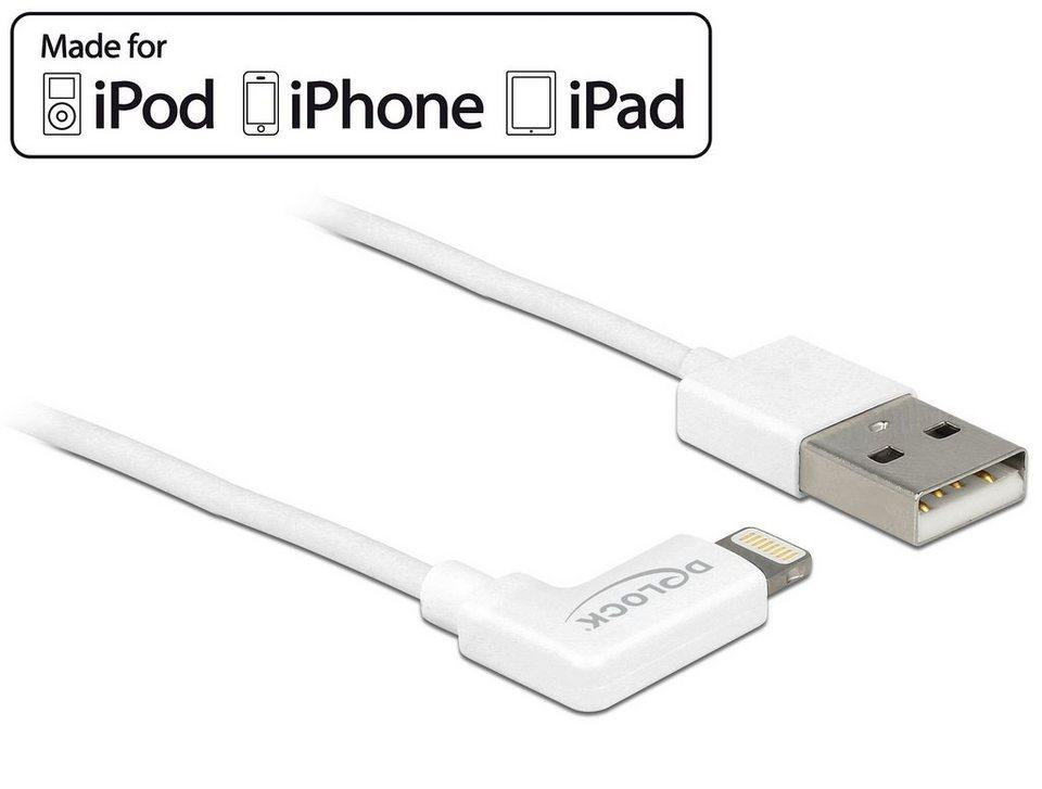 DELOCK Daten- und Ladekabel »USB für iPhone 1m gewinkelt (83768)« in weiß