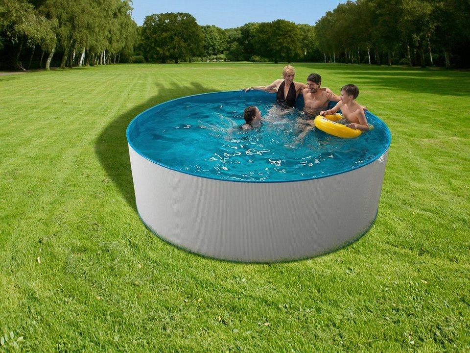 Clear Pool Set (3tlg.): Rundpool inkl. Kartuschenfilteranlage (in 3 Größen) in weiß