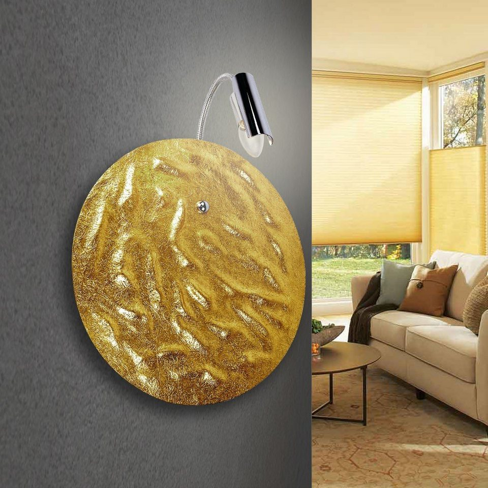 s.LUCE Wandlampe »Blister mit Flexarm Ø 40 cm in gold« in Gold