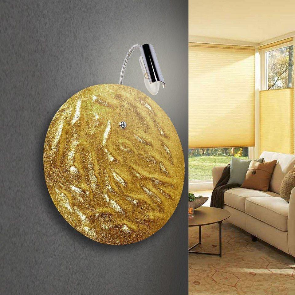 s.LUCE Wandleuchte »Blister mit Flexarm Ø 40 cm Goldfarben« in Gold