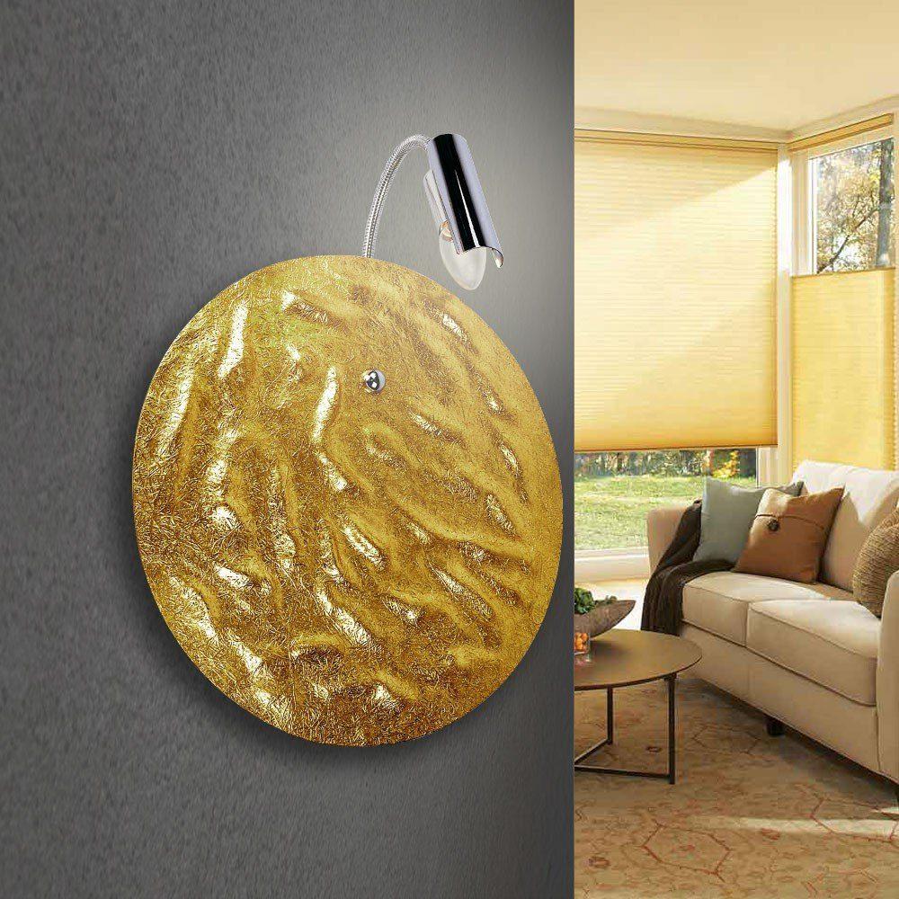 s.LUCE Wandleuchte »Blister mit Flexarm Ø 40 cm Goldfarben«