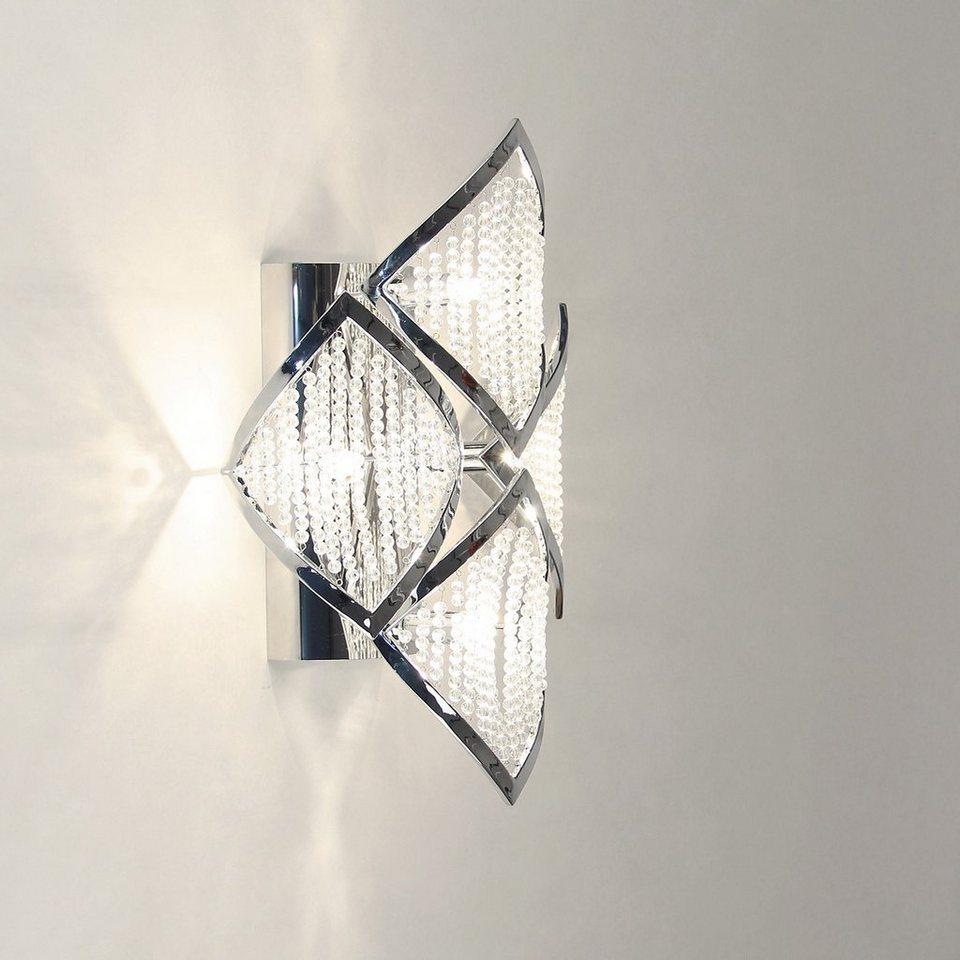 s.LUCE Wandlampe »Chaplet M 42 x 26 cm mit Kristallperlen« in Silber