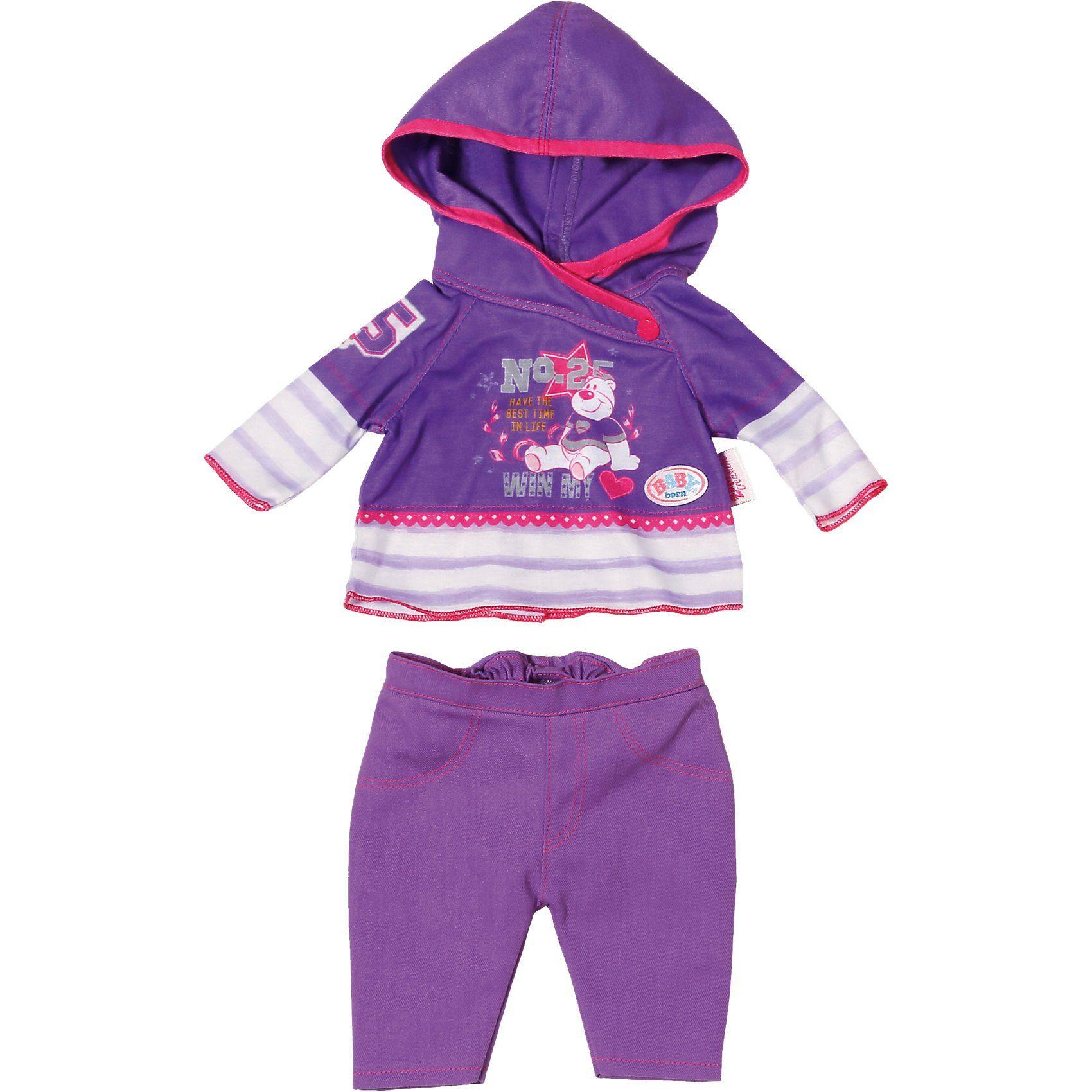 Zapf Creation BABY born® Puppenkleidung Freizeit Kollektion Lila, 43 cm