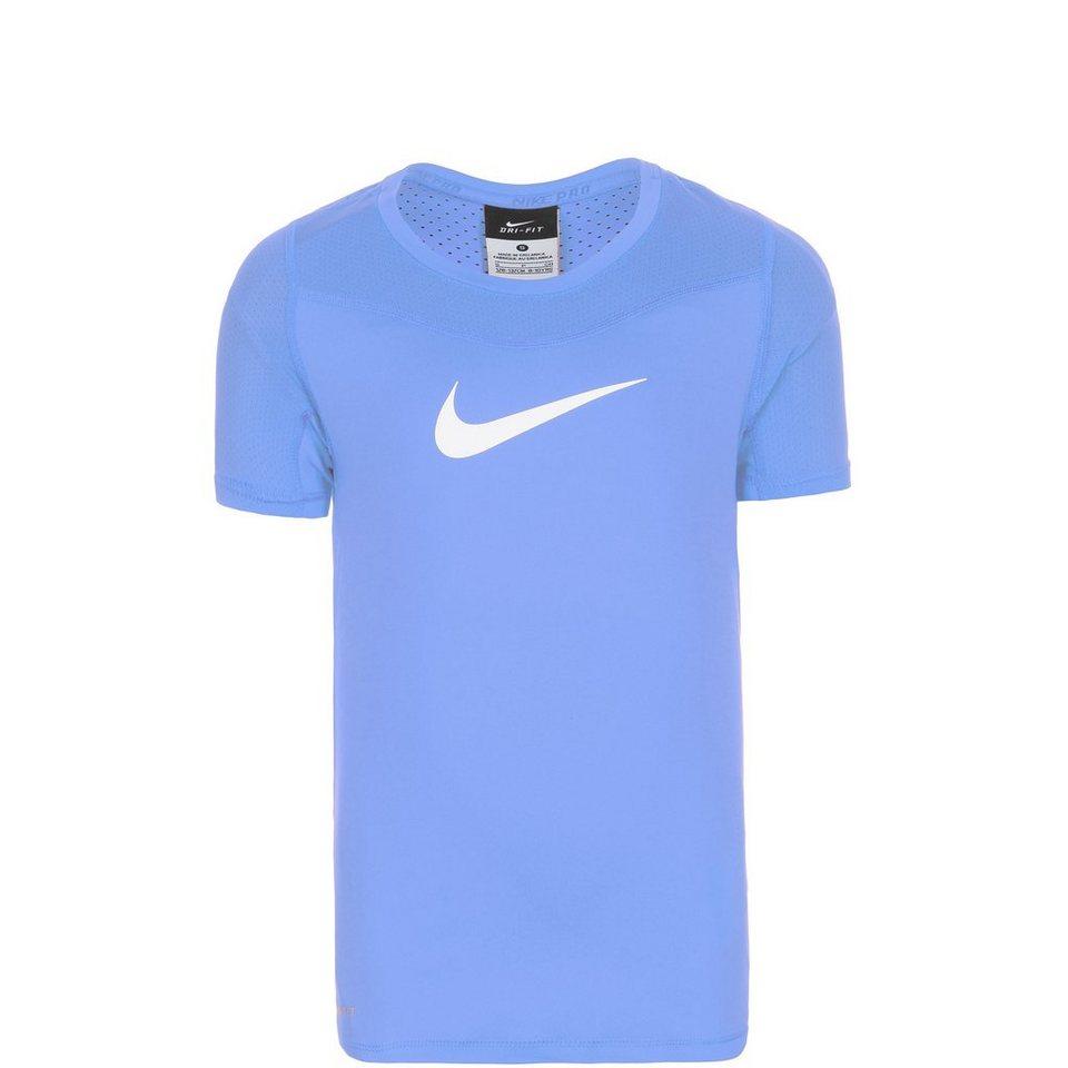 NIKE Pro Hypercool Trainingsshirt Kinder in blau / weiß