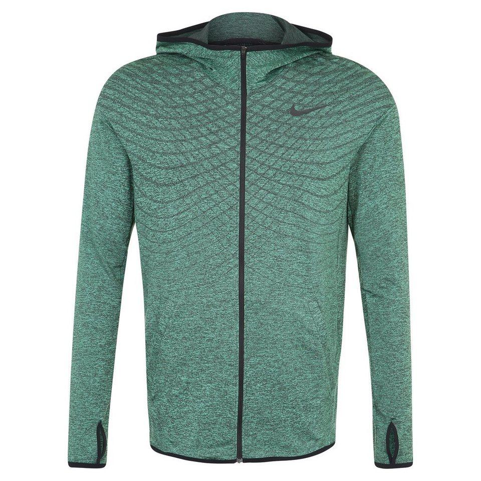 NIKE Ultimate Dry Full-Zip Trainingskapuzenjacke Herren in grün / schwarz