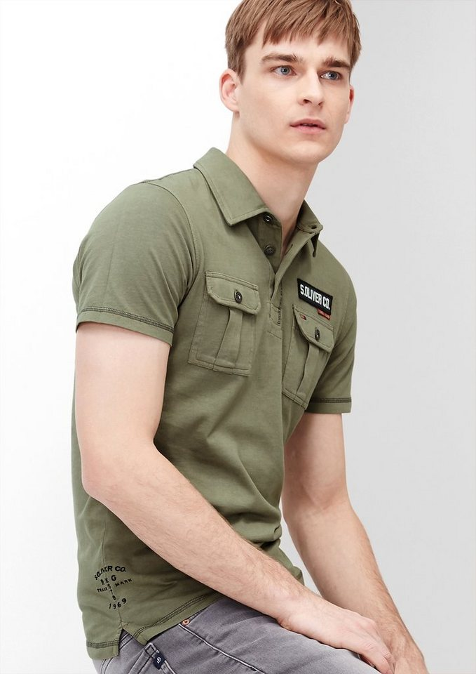 s.Oliver RED LABEL Poloshirt im Military-Look in fade olive