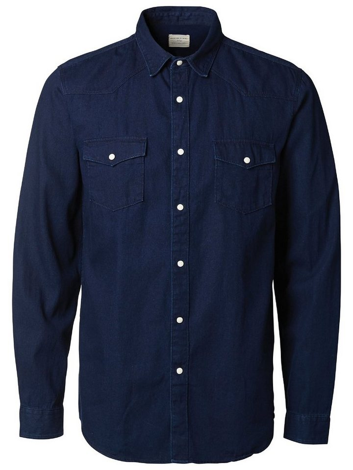 Selected Denim - Slim fit shirt in Dark Blue