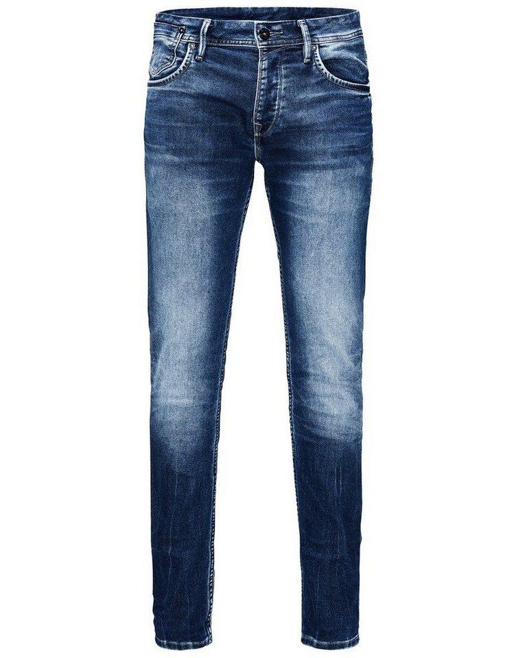 Jack & Jones Tim Leon Indigo-Strick Slim Fit Jeans in Blue Denim