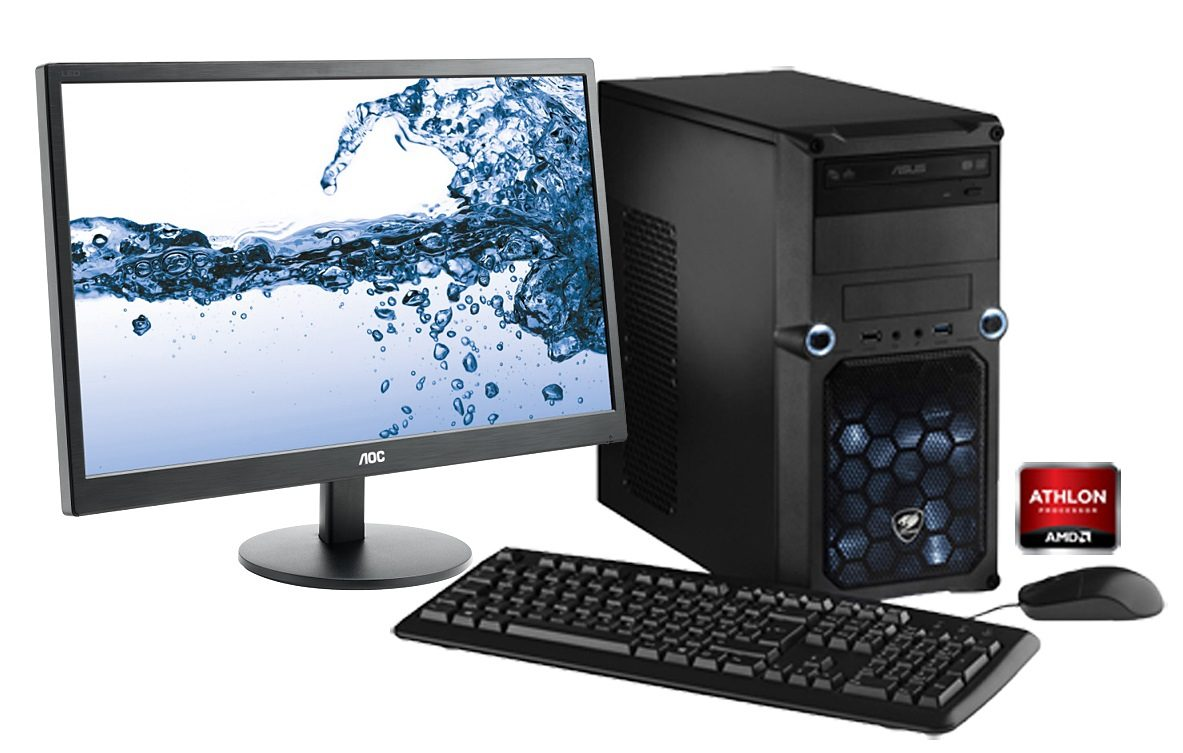 Hyrican PC Set AMD X4 860K, 8GB, 1TB, R7 240 2GB, Windows 10 + Monitor »CyberGamer SET01054«