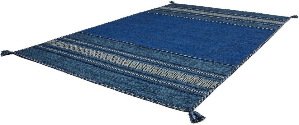 Teppich, Kayoom, »Alhambra 335«, Antik-Look, reine Baumwolle, handgewebt in Blau
