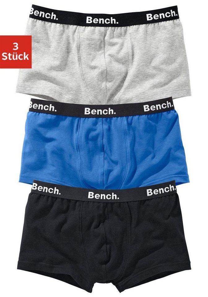 Bench Hipster (3 Stück) hüfttief geschnitten, »Cotton made in Africa« in blau + grau meliert + schwarz