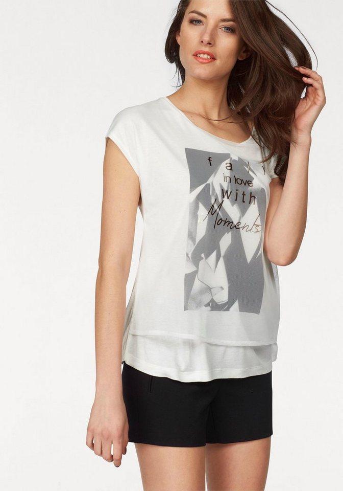 Vivance Layershirt mit glänzendem Schriftzug in wollweiß-schwarz-grau-kupfer