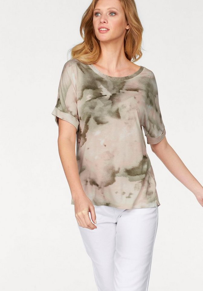 Corley Rundhalsshirt in apricot-olivgrün-wollweiß-bedruckt