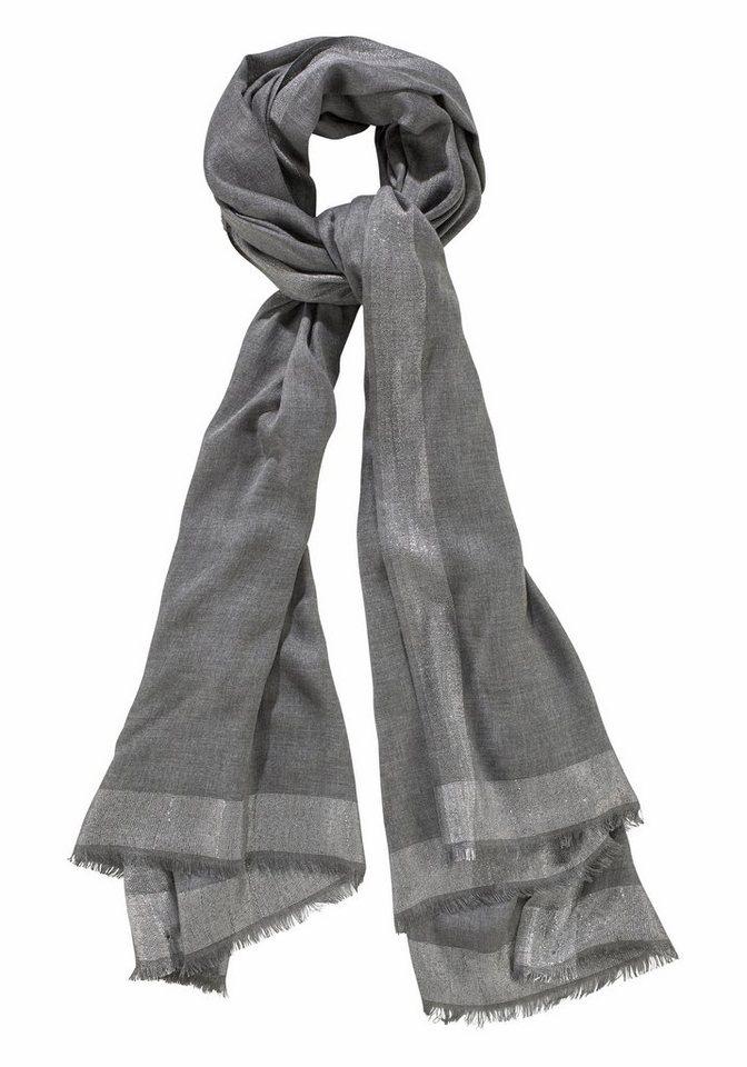Passigatti Modeschal mit Glitzerfäden in grau