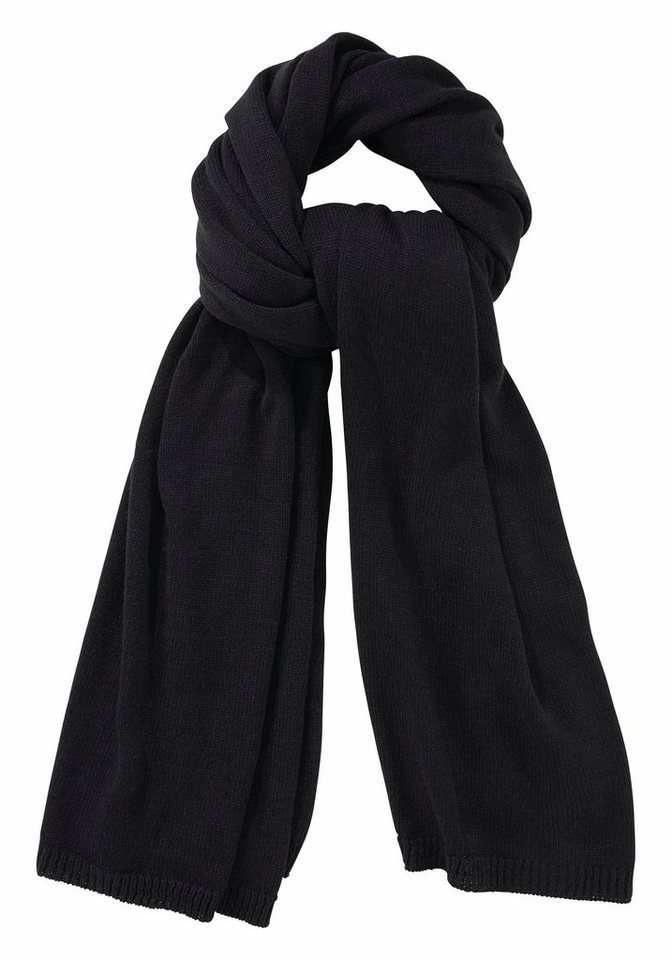 J. Jayz Strickschal mit schmalen Rippblenden in schwarz