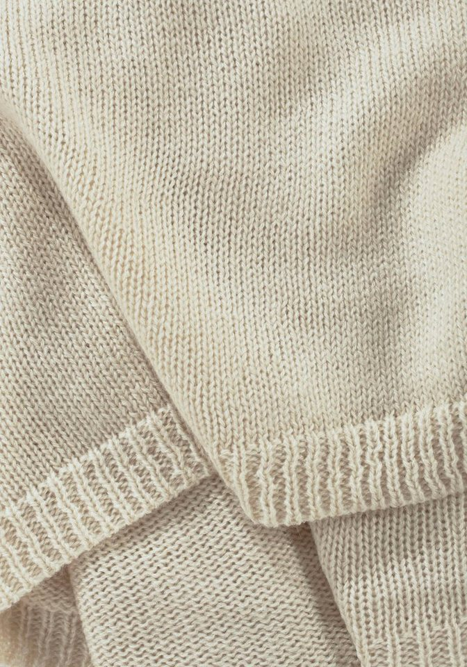 J. Jayz Strickschal mit schmalen Rippblenden in beige