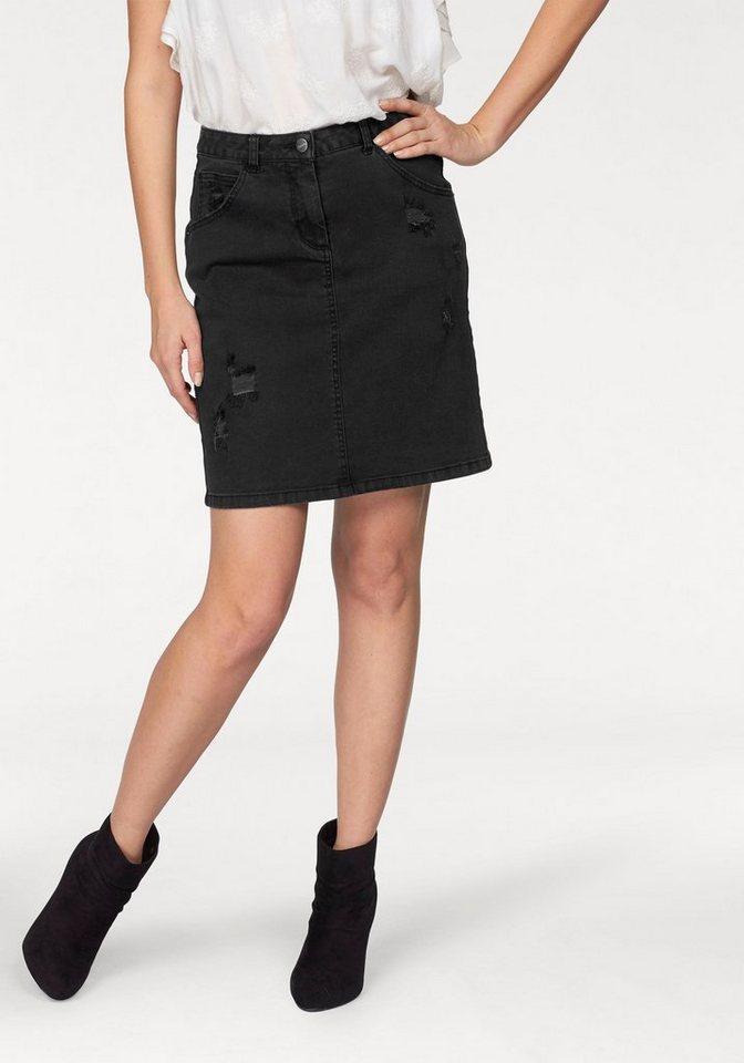 Aniston Jeansrock in schwarz