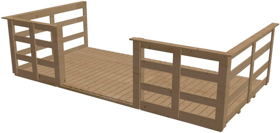 KARIBU Terrasse , 150 cm Tiefe, für Karibu-Produkte in Natur