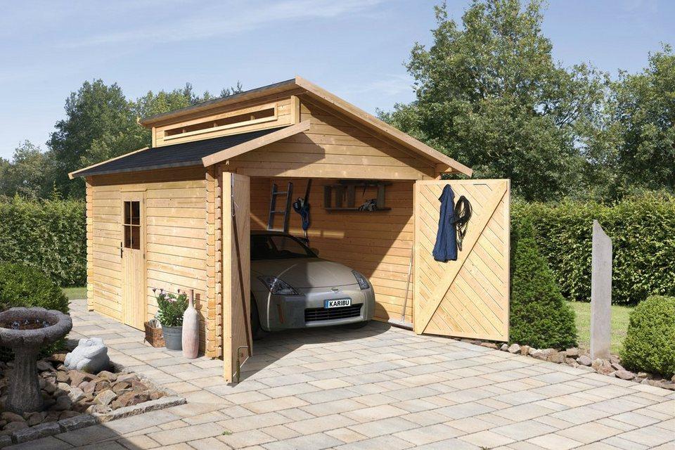 Einzel-Garage »Blockbohlen«, natur (BxT: 310x430 cm) in natur