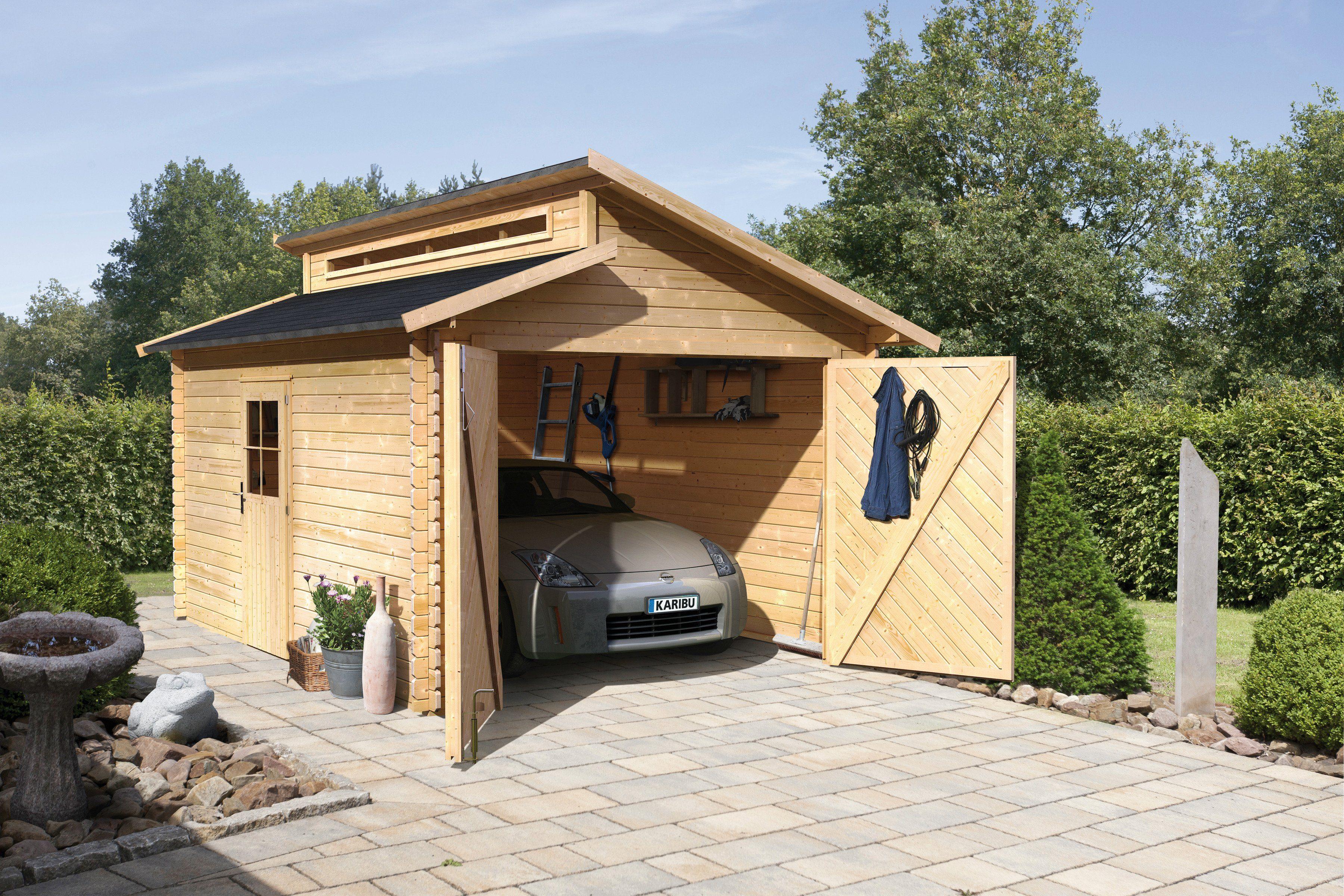 Karibu Einzel-Garage »Blockbohlen«, natur (BxT: 310x430 cm)