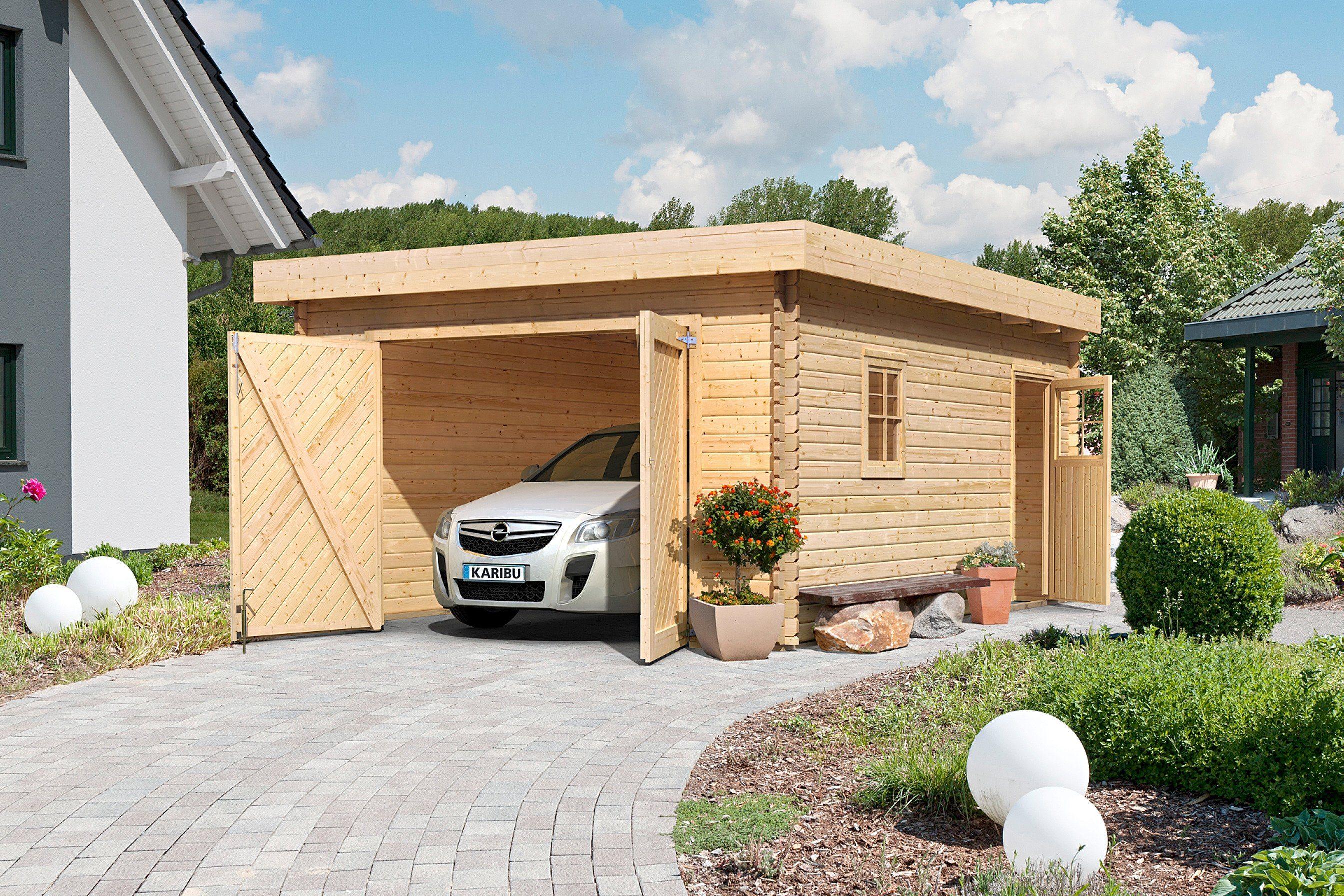 Karibu Einzel-Garage, natur (BxT: 372x522 cm)