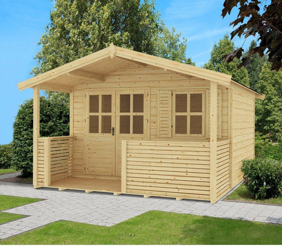 OUTDOOR LIFE PRODUCTS Gartenhaus »Saba 2«, BxT: 380x300 cm, 28 mm, inkl. Terrasse + Vordach in natur