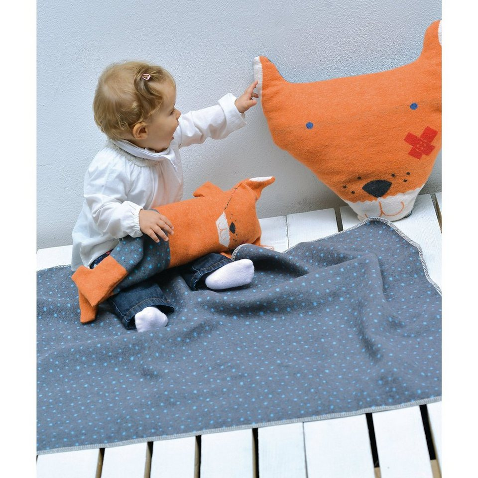 David Fussenegger Babydecke Juwel Fuchs, Decke in Puppe, 70 x 90 cm in blau