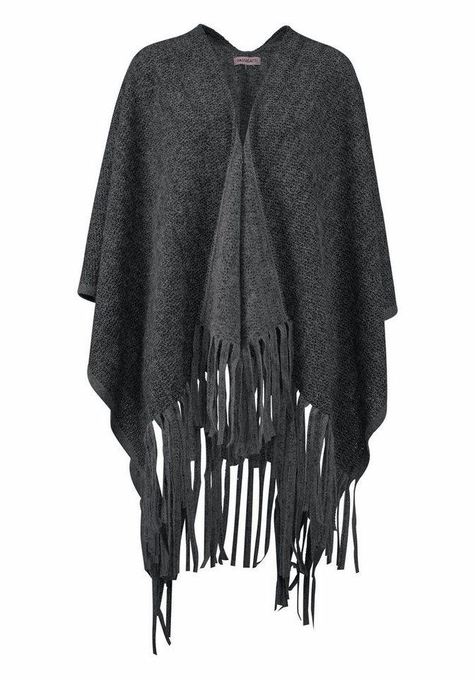 Passigatti Modeschal Poncho mit langen Fransen in schwarz-grau