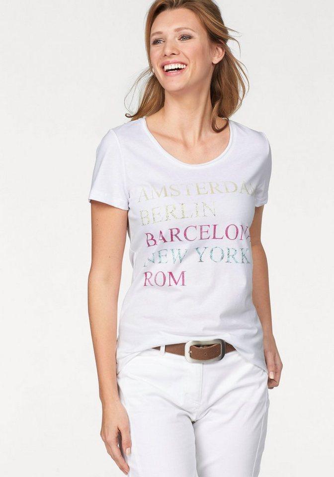 Cheer T-Shirt in weiß-pink-petrol-gelb-bedruckt