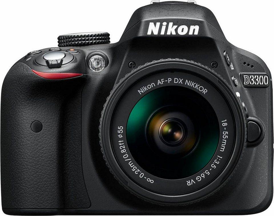 Nikon D3300 Kit AF-P 18-55 VR Spiegelreflex Kamera, NIKKOR AF-P 18-55 mm VR Zoom, 24,2 Megapixel in schwarz
