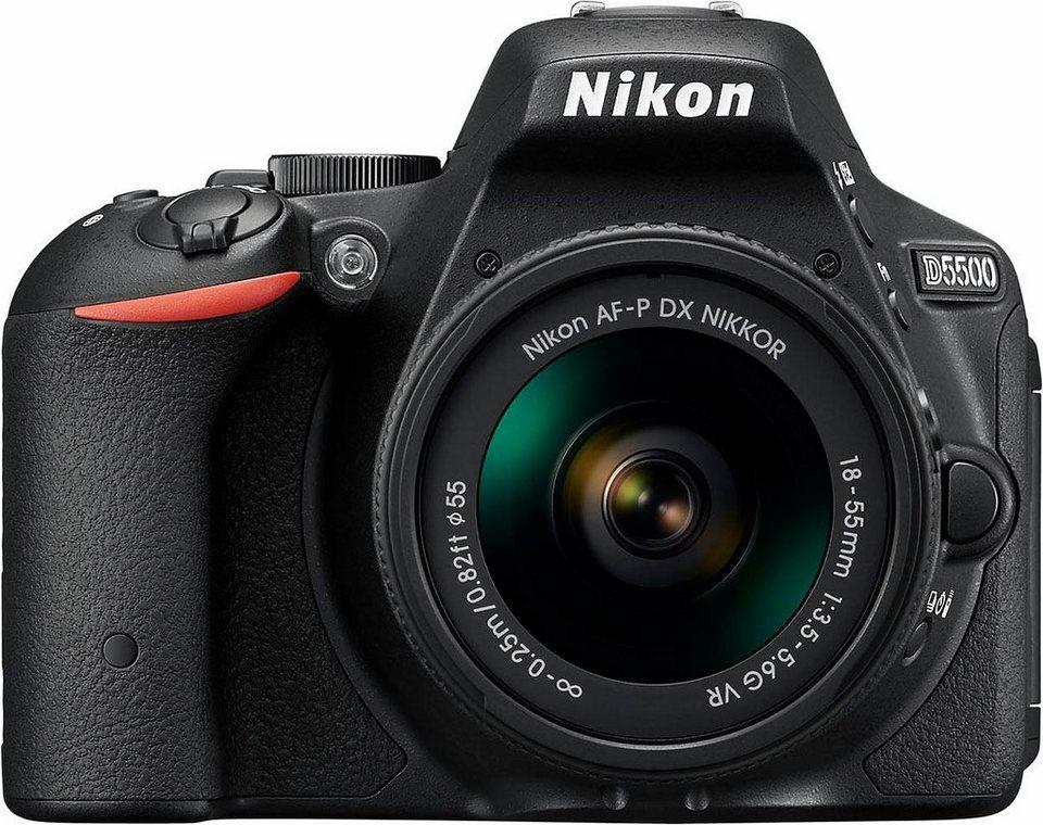 Nikon D5500 Kit AF-P 18-55 VR Spiegelreflex Kamera, NIKKOR AF-P 18-55 mm VR Zoom, 24,2 Megapixel in schwarz