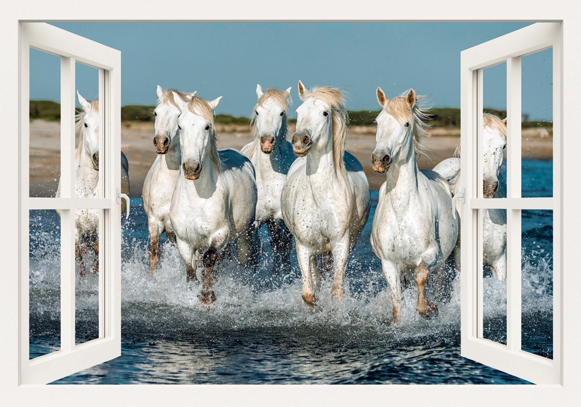 Home affaire Leinwandbild »V. Petrakov: Fensterblick - Camargue Pferde am Strand, 100/70 cm