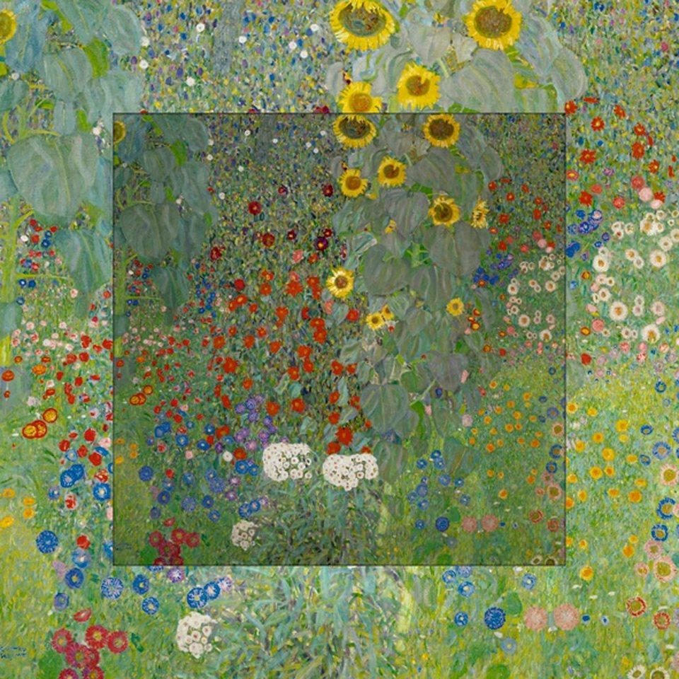 Home affaire Bild, Kunstdruck »G. Klimt: Garten mit Sonnenblumen«, 50,4/50,4 cm in Grün