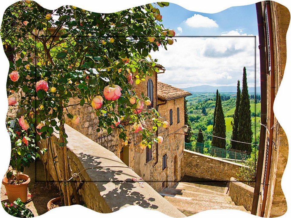 Home affaire , Kunstdruck »banepetkovic: Rosen in San Gimignano«, 80,9/60,4 cm in Grün