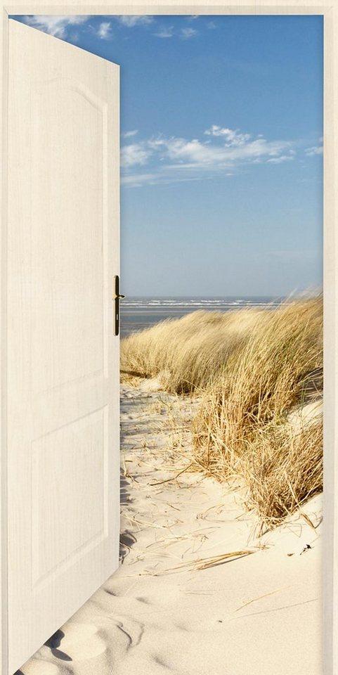 Home affaire Leinwandbild »E. Gruendemann: Offene weiße Tür mit Blick auf den Strand«, 50/100 cm in Creme