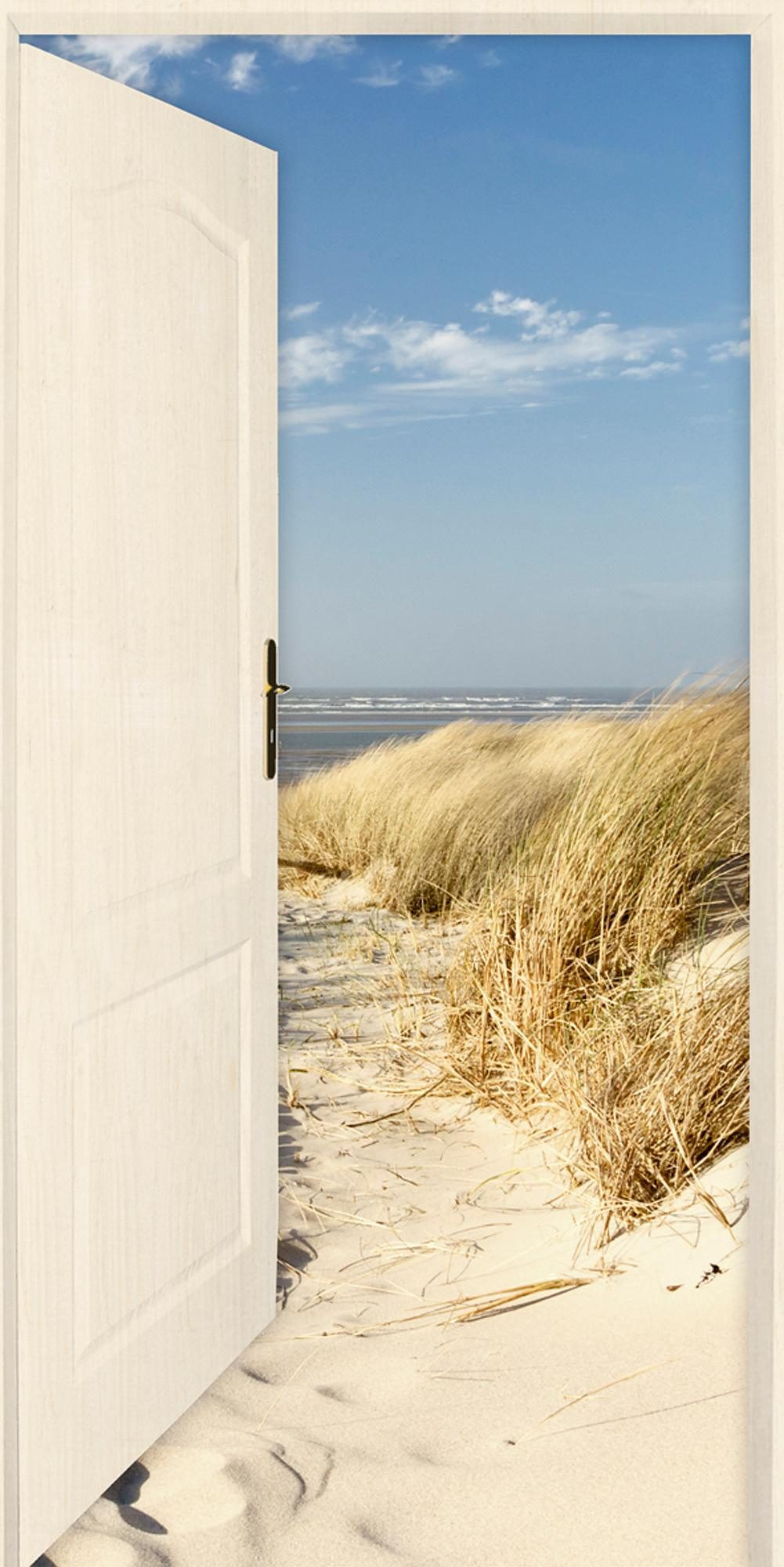 Home affaire Leinwandbild »E. Gruendemann: Offene weiße Tür mit Blick auf den Strand«, 50/100 cm