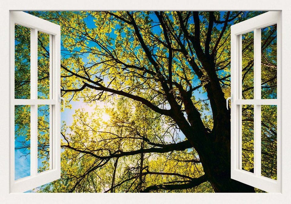 Home affaire Leinwandbild »Grisna Bruev: Frühlingssonne, durch die Baumkrone einer Eiche«, 100/70 cm in Grün