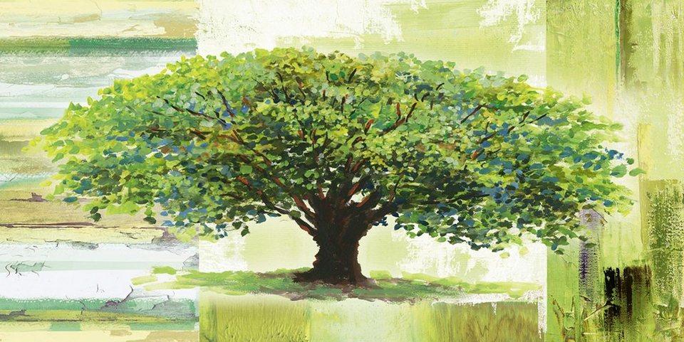Home affaire Glasbild »A. S.: Frühlingsbaum auf abstraktem Hintergrund«, 100/50 cm in Grün