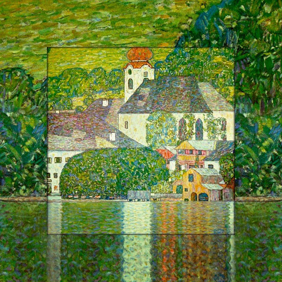 Home affaire Bild, Kunstdruck »G. Klimt: Kirche in Unterach am Attersee«, 50,4/50,4 cm in Grün